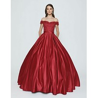 Burgundy Off-the-Shoulder Quinceanera Dress with Applique and Bow