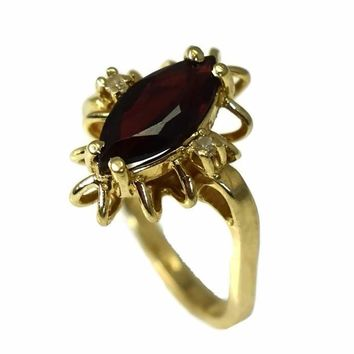 14k Gold Almandine Garnet Ring with Diamond Accents Vintage c1950