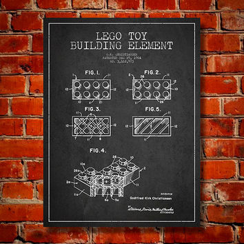 1964 Lego Toy Building Element Patent, Canvas Print, Wall Art, Home Decor, Gift Idea