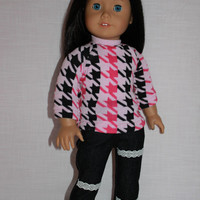 18 inch doll clothes, pink and black houndstooth sweater, dark denim skinny jeans with lace trim, american girl ,maplelea