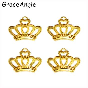GraceAngie 45Pcs Gold Alloy Crown pendant fit necklace bracelet charms diy Pendants for jewelry Beads Cap Jewelry Findings Women