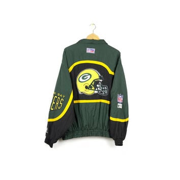 90s GREEN BAY PACKERS windbreaker jacket / vintage 1990s / nfl football gear / logo athletic / starter / Wisconsin / mens l - xl