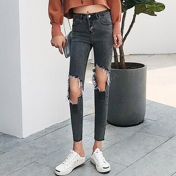 Women Fashion Personality Ripped Hollow High Waist Slim-fit Pants Jeans Trousers