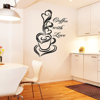 Vinyl Wall Decal Sticker Coffee With Love #OS_AA1420