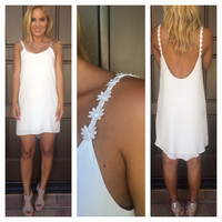 White Daisy Strap Low Back Dress