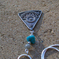 Sterling Silver Gypsy Dangle Necklace with Genuine by tarren