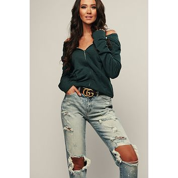 Sweat It Off Zip Up Jacket (Forest Green)