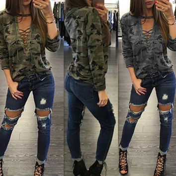 Hot fashion elegant style 2016 casual t-shirt full sleeve print tee sexy women camouflage tee S3107