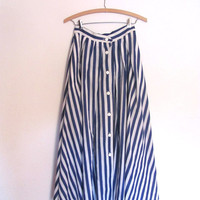 80s nautical skirt. blue and white striped skirt. long button skirt. women's size 6 S
