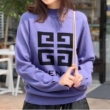 GIVENCHY Autumn Winter Fashionable Women Casual Jacquard Long Sleeve Knit Sweater Top Sweatshirt Purple