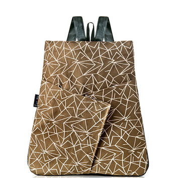 Vegan Backpack, Brown purse, Graphic print in light brown, Woman Bag - Origami inspired