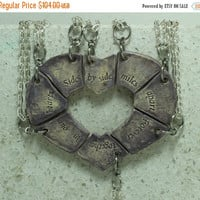 Fall Sale Puzzle Heart Necklaces set of 8 pendants Aromatherapy friendship pendants Side by side Purple