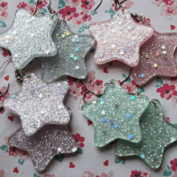 Kawaii Pastel Resin Glitter Star Dangle Earrings