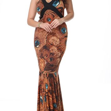 Casual Mermaid Deep V-Neck Plus Size Maxi Dress In Feather Floral Printed