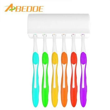 DCCKU7Q ABEDOE Toothbrush Holder for 6 Toothbrushs with Cover Double-sided Tape Bathroom Sets Suction Hooks Tooth Brush Container