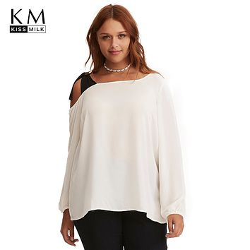 Kissmilk 2018 Plus Size Solid White Women T-shirts Large Size Lace Up Off-shoulder Patchwork Lantern Sleeve Female Big Size Tops