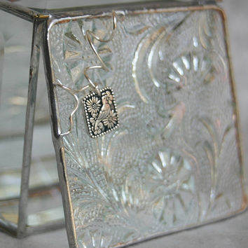Stained Glass Jewelry Box Clear Floral 3x3 w/ by GaleazGlass