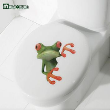 Crazy DIY Frog Toilet Sticker Furniture Decorative Bathroom Wall Stickers 3D Personality Thermal Grease Home Decor