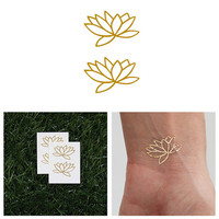 Fully Lotus - Metallic Flash Tat Temporary Tattoo (Set of 4)