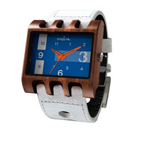 Mistura Lenzo Wooden Unisex Watch White Leather Band Navy Dial Orange Hands