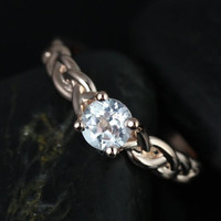 Prudence 5mm 14kt Rose Gold Round White Topaz Braided Engagement Ring (Other metals and stone options available)