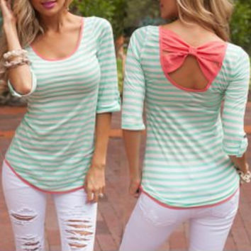 Green Striped Bowknot T-Shirt