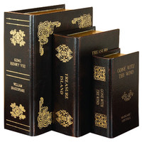 Woodland Imports 3 Piece Leather Book Box Set & Reviews | Wayfair