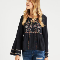 AE Embroided Bell-Sleeve Peasant Top, Washed Black