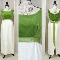 Vintage 60s maxi dress / size 8 / 9 / emerald green and white /  velvet brocade dress / 1960s Nadine / prom / formal / evening