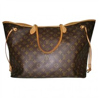 Neverfull leather handbag LOUIS VUITTON Brown