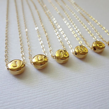 Initial Necklace Personalized Necklace Vermeil 24k Gold Initial Charm Necklace Golden Initial Necklace