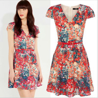 Red Floral Print V-Neck Cap-Sleeve Dress With Belt