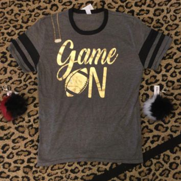 GAME ON -football women's t-shirt with gold foil