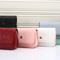 """Chanel"" Simple Fashion All-match Flower Embossed Metal Chain Single Shoulder Messenger Bag Women Flip Small Square Bag"