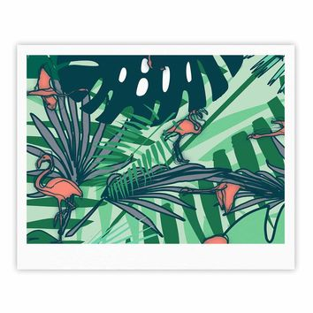 "bruxamagica ""Flamingo And Tropical Leaves"" Green Coral Animals Nature Illustration Digital Fine Art Gallery Print"