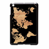 World Map On Wood Texture Print iPad Mini Case