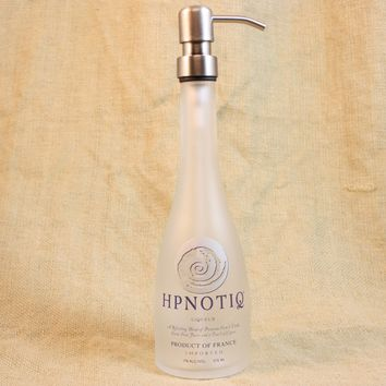 Soap/Lotion Pump Upcycled from Hpnotiq Liqueur Bottle, Recycled Liquor Bottle, Kitchen Soap Pump, Bathroom Soap Dispenser, Bar Ware