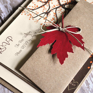 Fall  Wedding Invitations Autumn Wedding Invites