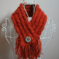 Rusty Orange Button up Scarf - Made with Upcycled Silk Yarn