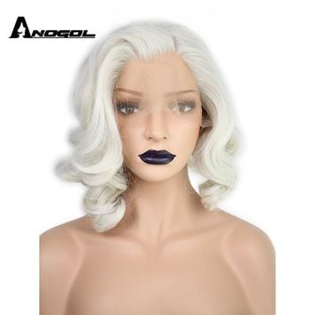 Anogol Short Body Wave Bob White Blonde Free Part Wave High Temperature Fiber Synthetic Hair Lace Front Wigs For Drag Queen