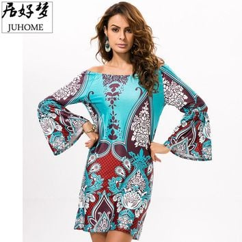 2017 Summer sundress Women clothes high quality fashion boho clothing hippie Ladies Dress off shoulder Tunic Beach skater dress