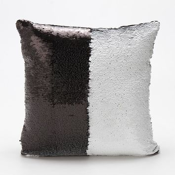 Bedding Mermaid Sequin Cushion Cover Magical Changing Silver Paillette Fashion Decorative Pillow Protectors for Sofa Party Decor
