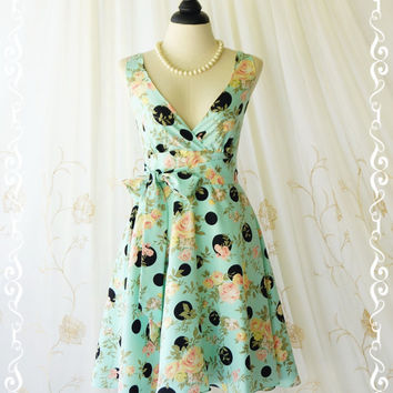 My Lady II Spring Summer Sundress Floral/Polka Dot Print Mint Blue Dress Wedding Bridesmaid Dress Party Tea Dress Floral Dresses XS-XL