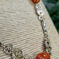 Vintage -  Art Deco Amber Orange Swirl Bead Goldtone Filigree Chain Necklace