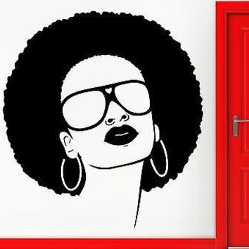 Wall Stickers Vinyl Decal Hot Black Woman Girl Sunglasses Beauty Salon Unique Gift (EM568)