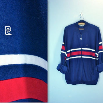 Pierre Cardin 80s mens track jacket . striped navy red zip front . extra large xl