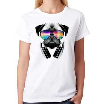 Tops and Tees T-Shirt Fashion Women T Shirt Pug Dogs Spoof Cute Kawaii Animal  Female Cotton Print White Tumblr Clothing Femme  Top Tee AT_60_4 AT_60_4