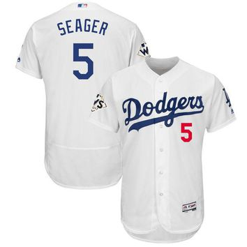 Men's Los Angeles Dodgers Corey Seager Majestic White 2017 World Series Bound Flex Base Player Jersey