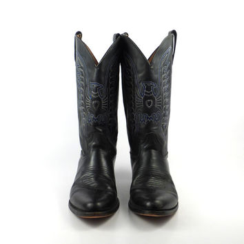 Cowboy Boots Vintage 1980s Black Leather Rebelde Eagle Men's size 9