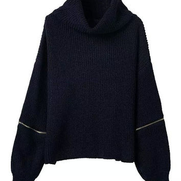Navy Turtle Neck Zipper Detail Sleeve Sweater